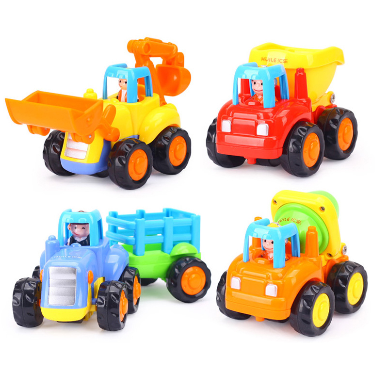 Push And Go Friction Powered Car Toys Set Tractor Bulldozer Mixer Truck And Dumper Pull Back Vehicles Friction Powered Cars