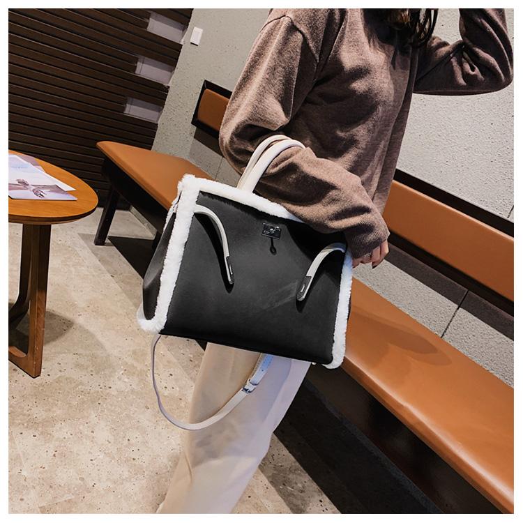 Korean handbag large capacity bucket hand bag designer big tote designer Fur women messengerc winter shopping wool no lock 106