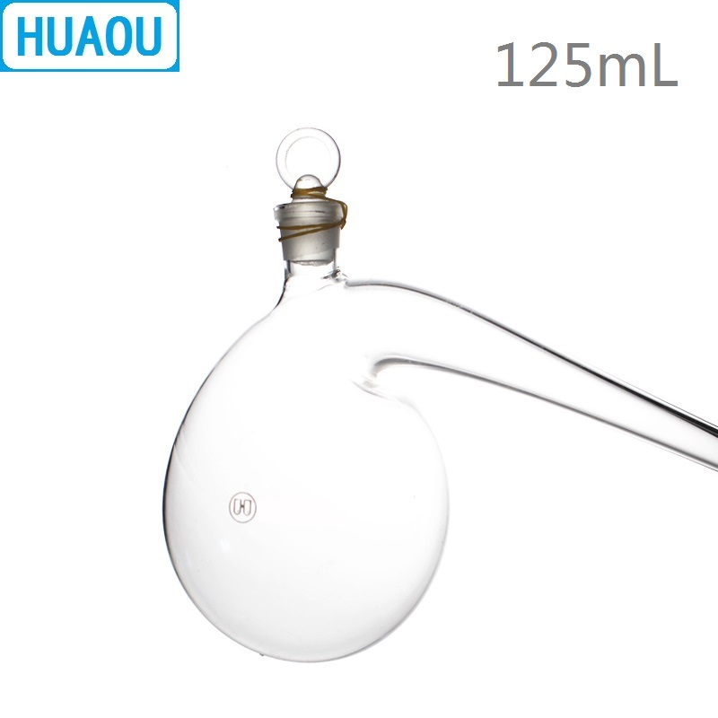 HUAOU 125mL Retort With Ground - In Glass Stopper Borosilicate 3.3 Glass Distillation Distilling Flask Laboratory Chemistry