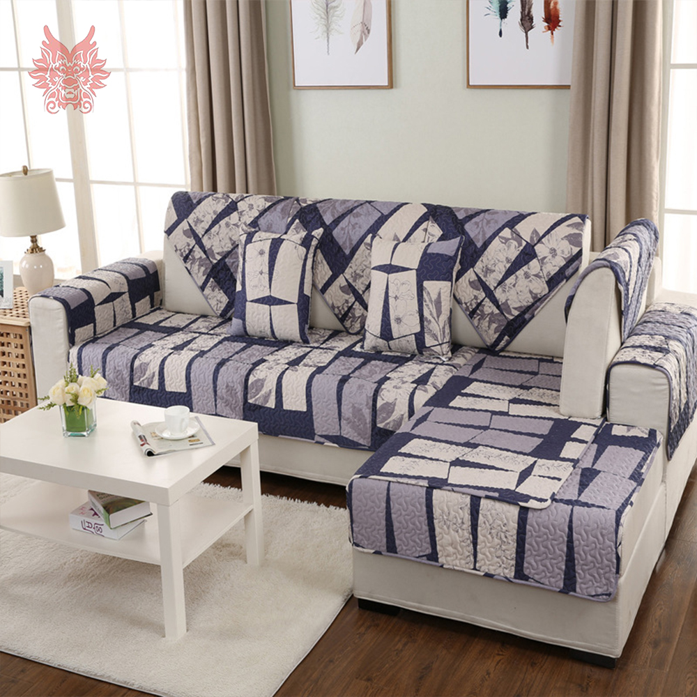 Brief Style Geometric Print 100% Pure Cotton Quilted Sofa Cover Slipcovers  Anti Slip Sofa