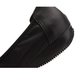Image 3 - TIMETANG אופנה אמיתי עור בלט שטוח נעלי אישה מחודדת בתוספת מוצק שחור רדוד רך משרד עבודה בהריון נעלי אישה