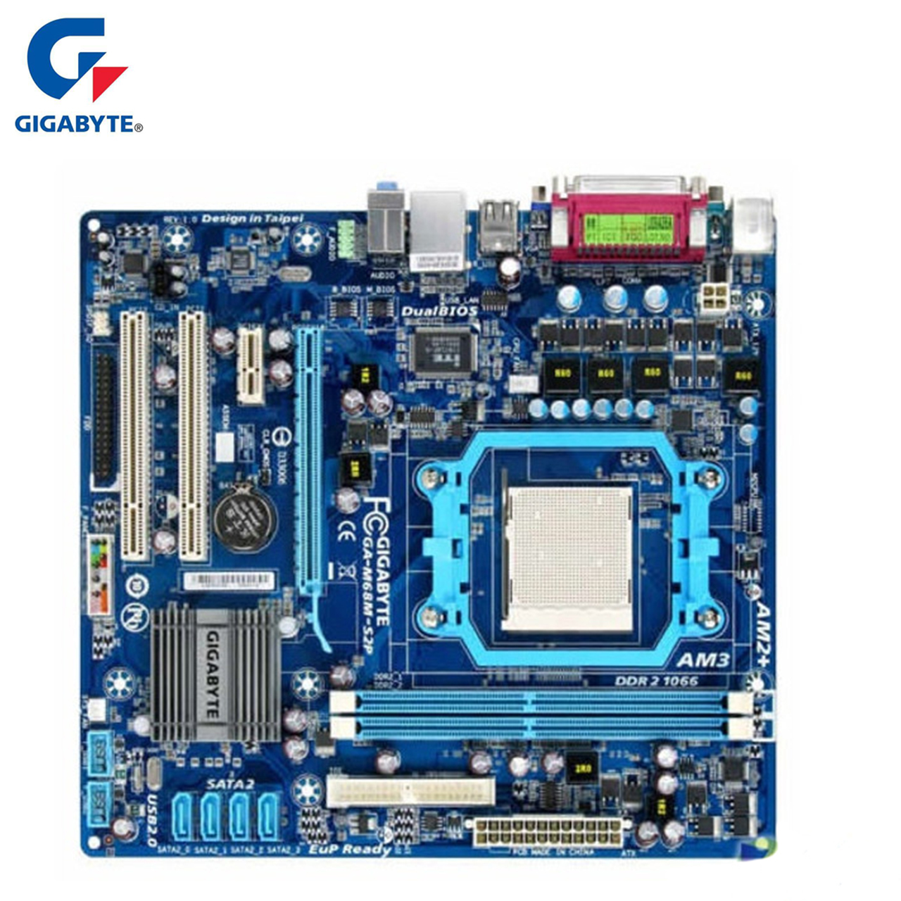 Gigabyte GA-M68M-S2P Motherboard DDR2 8GB Socket AM2/AM2+/AM3 M68M S2P Desktop Mainboard Systemboard Integrated Graphics Used image