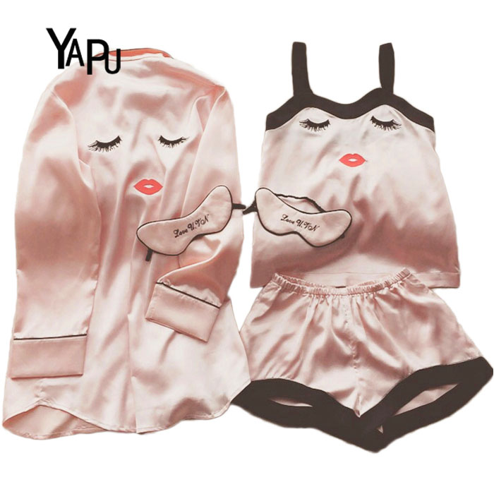 Women Satin Silk Pajamas Set Shorts trousers Comfortable Home Service Set Eyelashes Curved Eyes Blink Pajamas