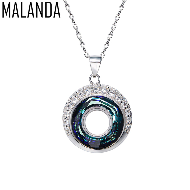 MALANDA  Brand 2017 Fashion Round Crystals From Swarovski 925 Sterling Silver Maxi Necklaces Pendants For Women Wedding Jewelry