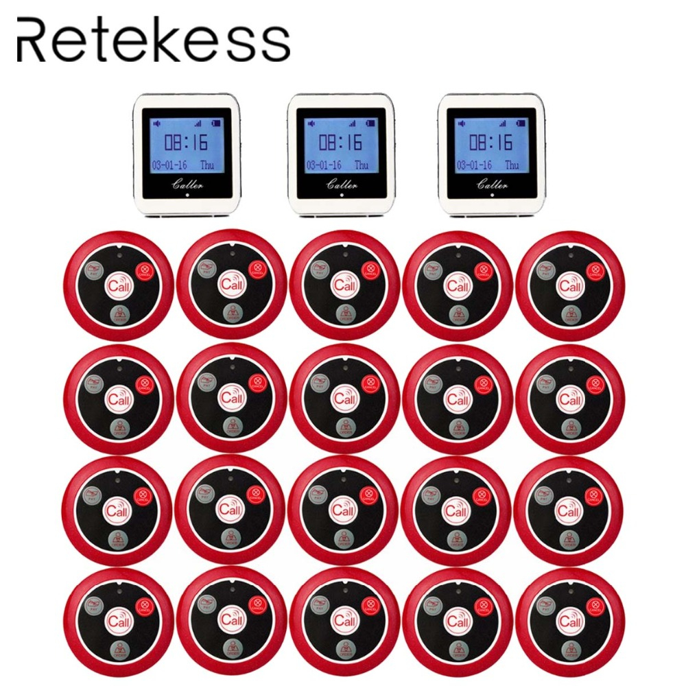 RETEKESS Wireless Waiter Calling System For Restaurant Service Pager System Guest Pager 3 Watch Receiver 20