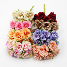 6 adet/grup 3 cm yapay çiçek ipek ercik gül buketi düğün ev dekorasyon DIY garland karalama defteri hediye kutusu kağıttan çiçek