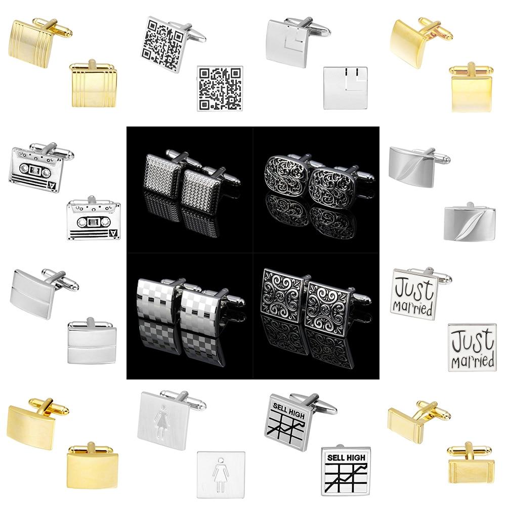 MeMolissa Novelty Square Cufflinks Stainless Steel Old Craftsman Hand Laser Engraving  Luxury High-grade Men's  Jewelry