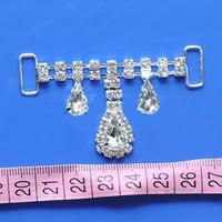 10pcs/lot Big Crystal Drop Rhinestone Bikini Connectors Metal Chain Buckles For Swimming Wear Bikini Decoration