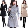 Mulheres Casaco de inverno Longo Casaco De Lã Casacos Femininos Abrigos de Cashmere Preto