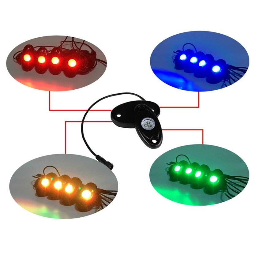 Car-styling 4x Pod RGB LED Car Atmosphere Neon Lights Wireless Phone APP Control Under Car July07#2 чайник электрический scarlett sc ek20p01