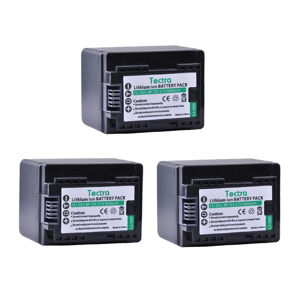 Tectra BP-727 BP 727 BP727 3pcs/pack Camera Battery for Canon VIXIA HF M50 M500 M56 M52 M60 R30 R300 R308 R506 DSLR Camera 3 6v 2400mah rechargeable battery pack for psp 3000 2000
