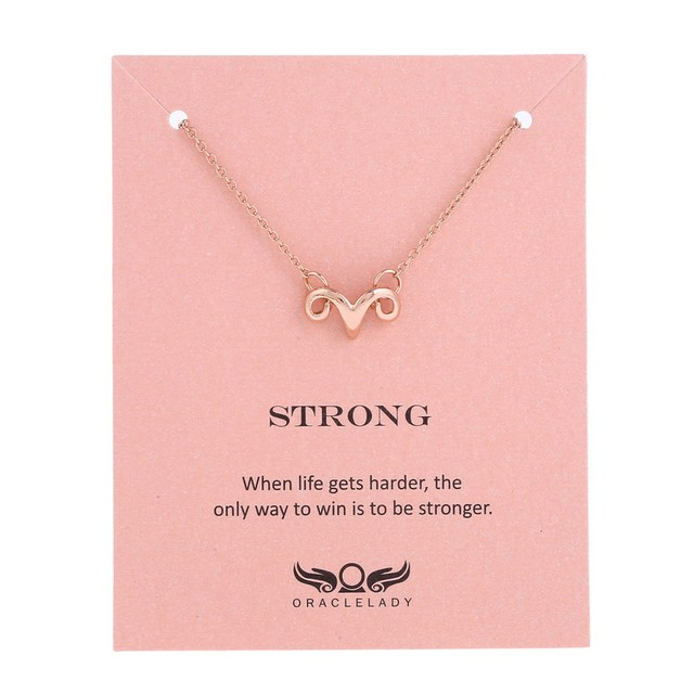 30b42711ef171 2018 Customize Ram Strong Brave Necklace Aries Constellation Pendant  Necklace Strong Forture Favors Brave Friendship