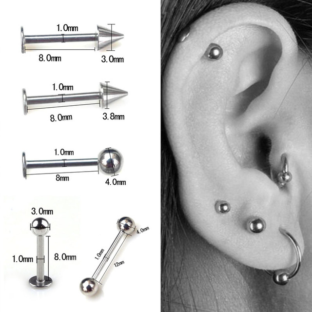 1 Pcs 3-5mm ball 14G 18G Silver Stainless Steel Tragus Helix Bar - Cartilage Top Upper Ear Earring Labret Body Piercing Jewelry golf wood 5 head cover