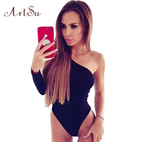 Artsu Sexy One Shoulder Jumpsuit Overalls 2017 Autumn Body Black Rompers Women Long Sleeve Bodysuit Macacao