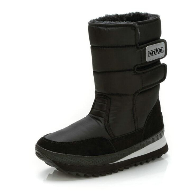ผู้ชายรองเท้า 2018 สีดำกลางลูกวัวบู๊ทส์หิมะฤดูหนาวคุณภาพสูงกันน้ำลื่นรองเท้าอุ่นฤดูหนาว plus ขนาด 36-47