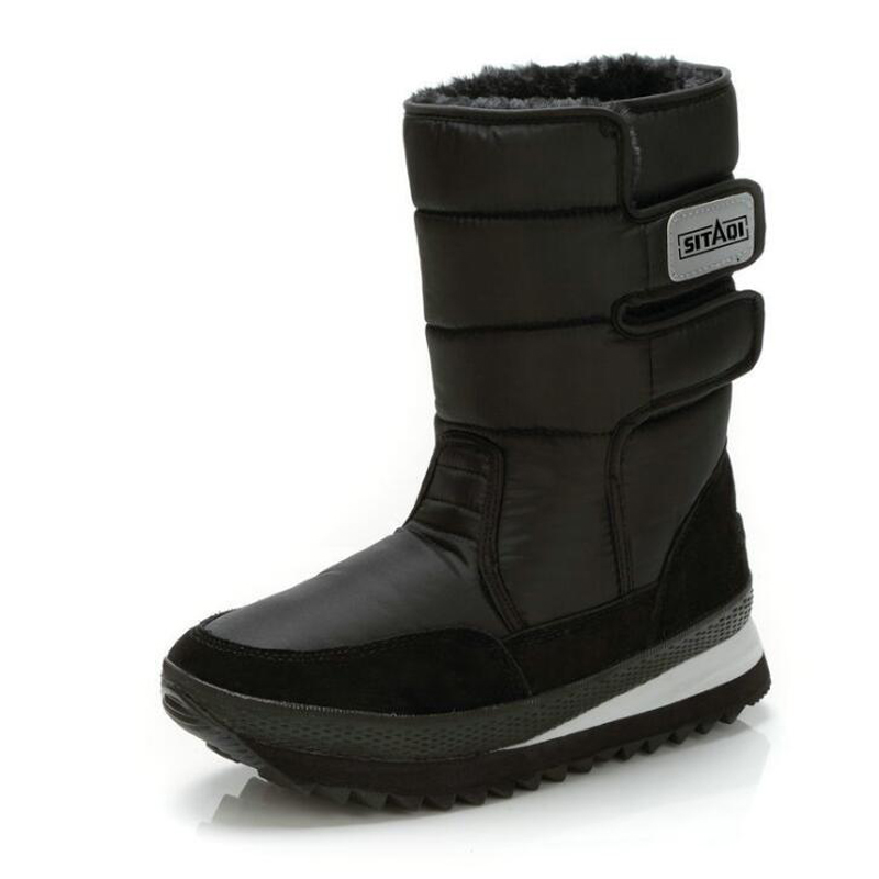 Men Boots 2018 Black Mid-calf Winter Snow Boots High Quality Waterproof Non-slip Warm Winter Shoes Plus Size 36 - 47