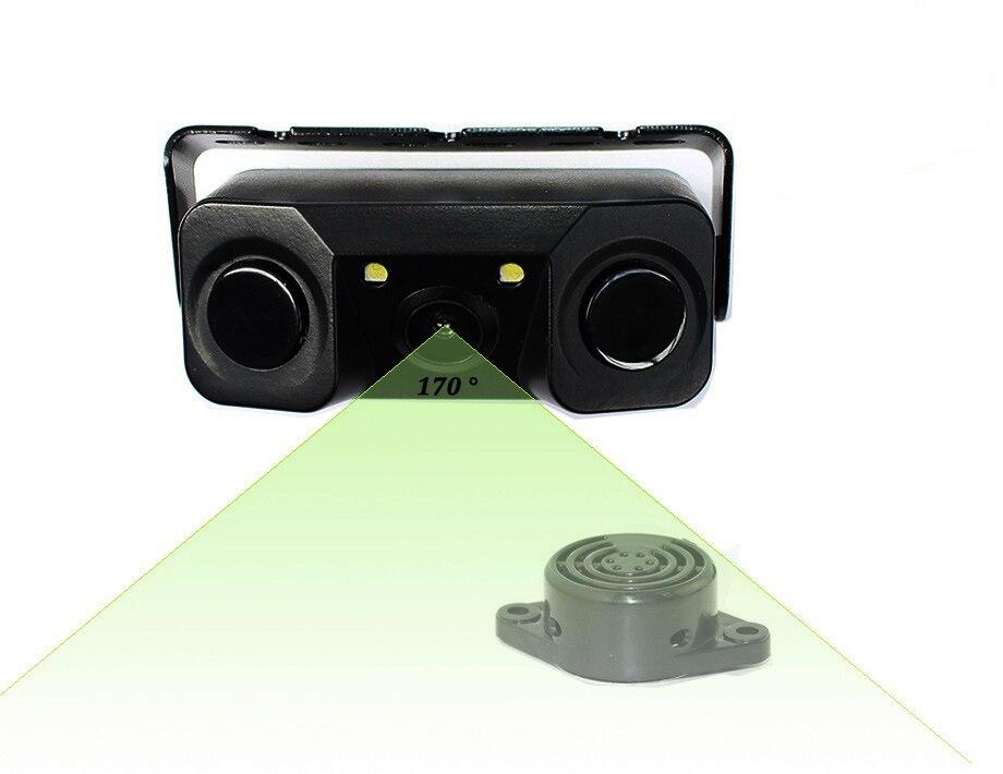 New 3 IN 1 2 in 1 Car Video Parking Sensor Reverse Backup Rear View Camera