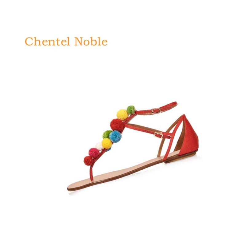 78319b620 Embellecido Lace Red Patchwork Cuero camiseta Color Sandalia Plana Zapatos  Pompom Bar up Noble Verano Chentel ...