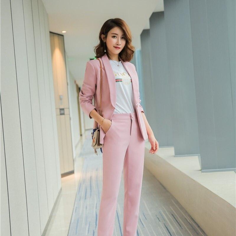Avec White Mode pink Blanc Conceptions Blazer D'affaires Femmes Dames Wear Ensembles Formelle Bureau Uniforme Veste Pantalon Élégant Work Costumes Et black Un De 1FFnX4q