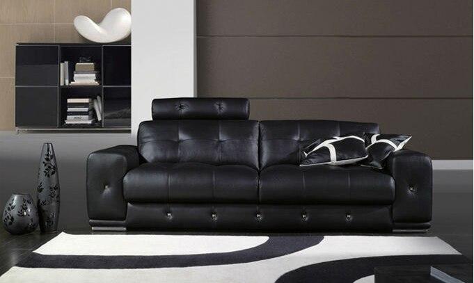 Muebles sofá seccional en cuero completo salón sofá color negro con ...