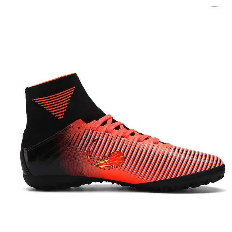 b4db7958e ... 2017 Men High Ankle Soccer Shoes Kids Children Soccer Cleats TF Indoor  Turf Futsal Sock Football ...