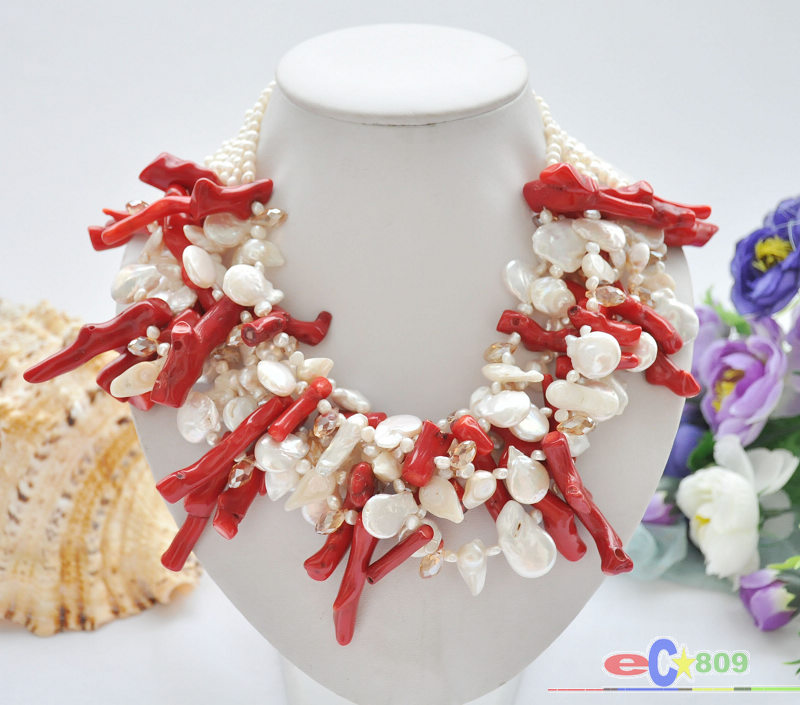 Collier de branche de corail rouge avec perle deau douce BAROQUE blanche de 6ROW 19Collier de branche de corail rouge avec perle deau douce BAROQUE blanche de 6ROW 19