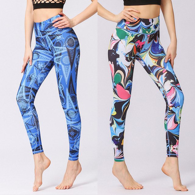 Flower Printed Yoga Pant Women High Waist Leggings Sports Tight Fitness Pants Slim Running Trousers Lady Beautiful Tights Gym 1