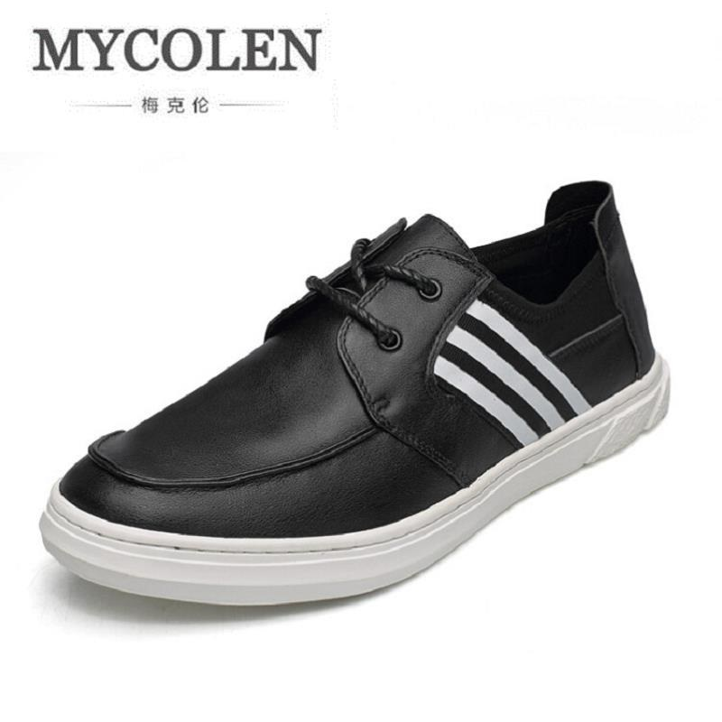 MYCOLEN Winter New Male Shoes Casual Genuine Leather Shoes Classic Striped Men Board Shoes Breathable Zapatillas Hombre 2017 wholesale hot breathable mesh man casual shoes flats drive casual shoes men shoes zapatillas deportivas hombre mujer