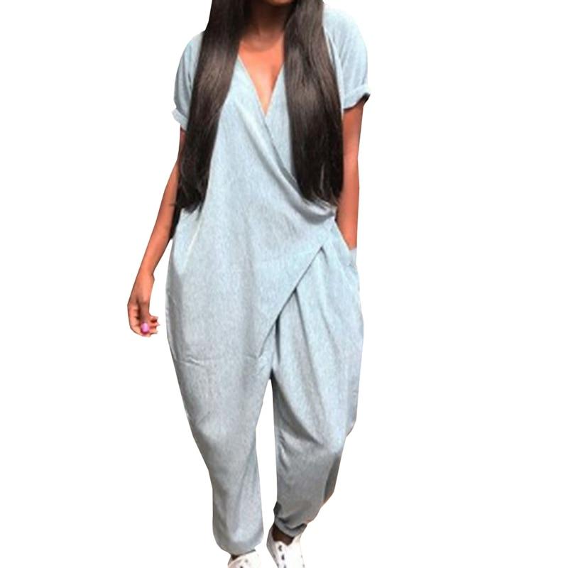 Summer Women Loose Jumpsuit With Pockets Office Ladies Short Sleeve V Neck One Piece Harem Pants Romper Plus Size
