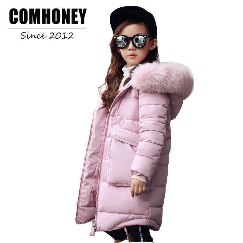 Baby Winter Jacket for Girls Faux Fur Collar 4-14T Hooded Kids Down Cotton Outerwear Long Children's Ski Suit Warm Parka Coat dunlop winter maxx wm01 205 65 r15 t