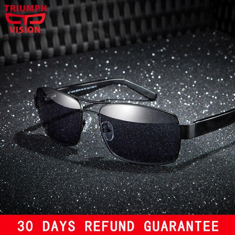 TRIUMPH VISION Prescription sunglasses Men Driver Polarized Customize Glasses Prescription Glasses Myopia Metal Frame Black Lens