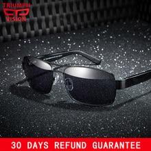 TRIUMPH VISION Prescription sunglasses Men Driver Polarized Customize Glasses Myopia Metal Frame Black Lens
