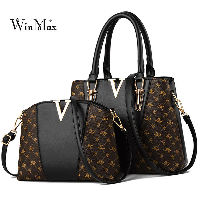 2 PCS Women Bags Set Leather Handbag New Women Tote Bag Ladies Handbags Shoulder Bag for Women 2018 Luxury Messenger Bag Bolsas-in Top-Handle Bags from Luggage & Bags