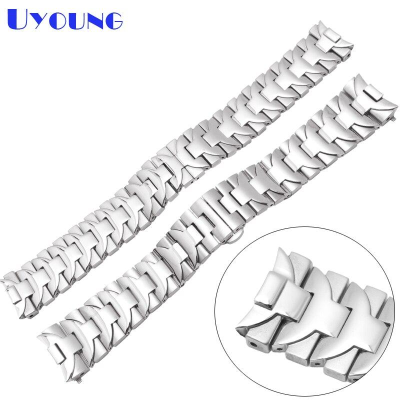Bracelet en acier inoxydable 22mm 24mm sol métal bracelet de montre pour hommes montres top marque montre de luxe bracelet en argent rose or rayure