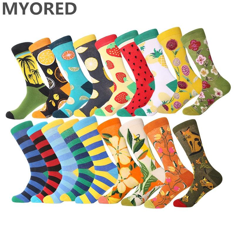 MYORED Crew-Socks Combed Cotton Wedding-Gift Fruit Funny Street-Cacaul Colorful Stripes