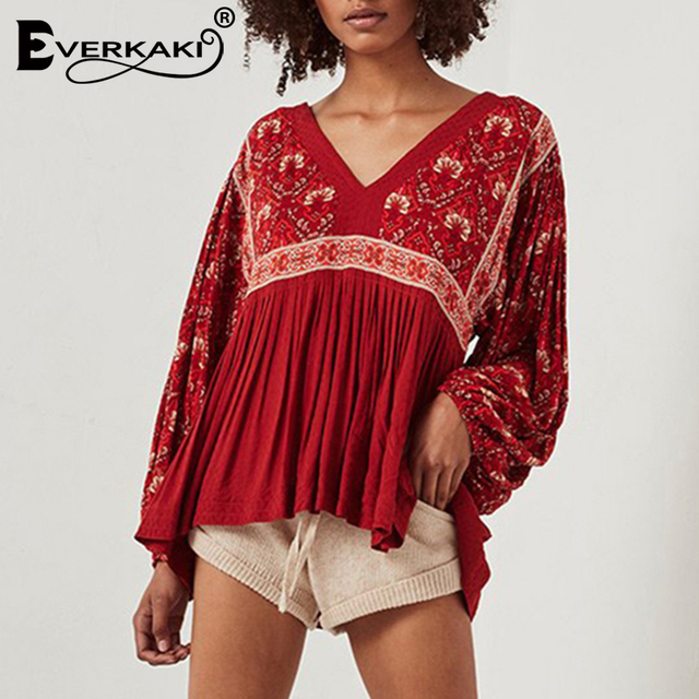 aa44b7aaf7a Everkaki Red Boho Blouse Shirt Peplum Top Long Sleeve Floral Print Cotton V  Neck 2019 Bohemian