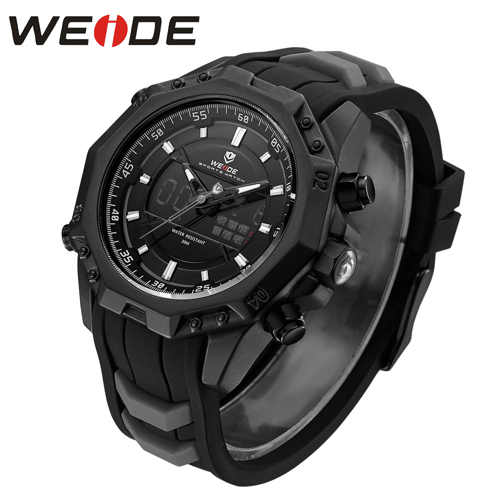 все цены на WEIDE 6406 Mens Quartz Watches Top Brand Luxury Alarm Clock Waterproof Sport Wristwatch Analog Digital Automatic LCD Watch Man онлайн