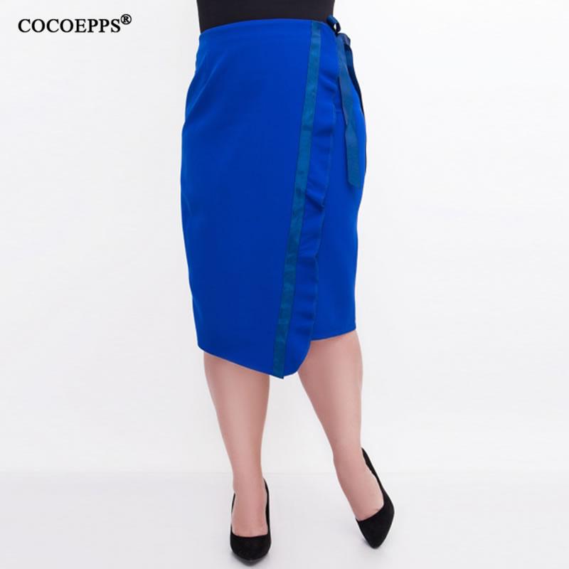 2018 Fashion Elegant Women Work OL Skirts Ruffles High Waist Slim Ruffles Skirt Plus Size Bodycon Sexy Pencil Skirt 5XL6XL Black