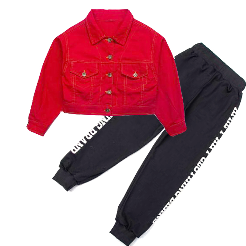 Children's jazz dance costume Kids street dance clothes Hip Hop red cowgirl jacket & black long pants