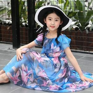 Image 2 - Kız çocuk yaz elbisesi plaj çiçek uzun çocuk elbise tatil plaj elbise çocuklar genç kız giysileri 5 6 8 10 12 13 yıl
