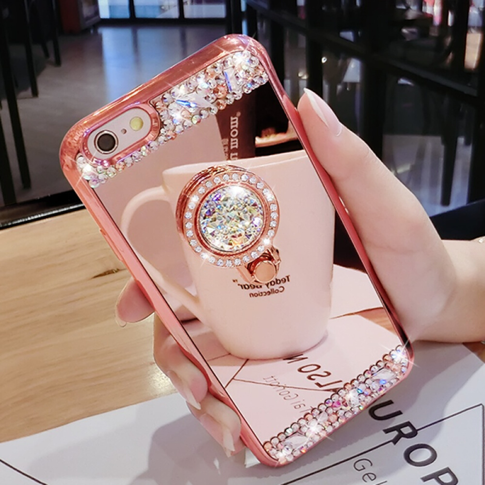Fashion Diamond Soft TPU Crystal Rhinestone Glitter Mirror Phone Case For Samsung S8 S9 S8 Plus S9 Plus with Ring Holder Stand image