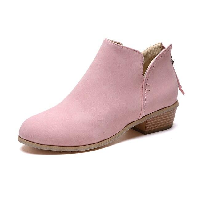 GOXPACER الخريف جديد أحذية النساء ميد الكعوب مارتن الأحذية عودة البريدي موضة أشار تو حذاء قصير قصير جديد حجم كبير 35-43 2018