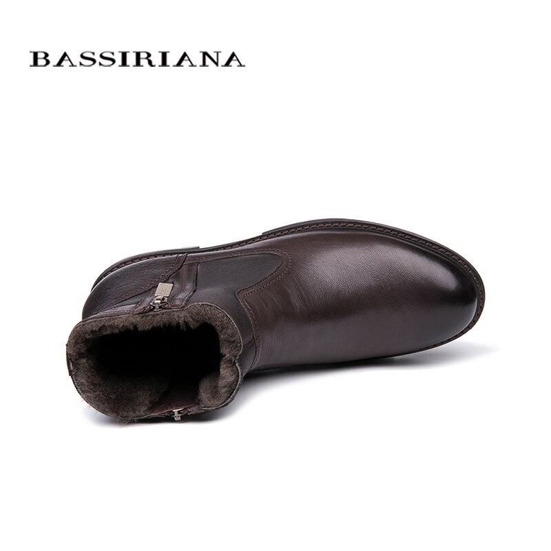BASSIRIANA الرجال الشتاء الأحذية ، الجلد الطبيعي الأغنام الصوف بطانة ، كبيرة الروسية أحجام 39 45 ، الأسود و البني شحن مجاني-في أحذية برقبة أساسية من أحذية على  مجموعة 3