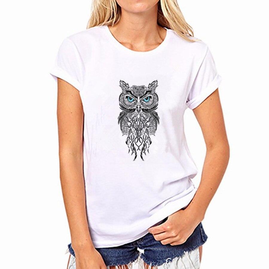2016 Summer Autumn Women Owl Print O neck Short Sleeve Women Blouses Cotton Shirts blusas FS50-WB-YH42