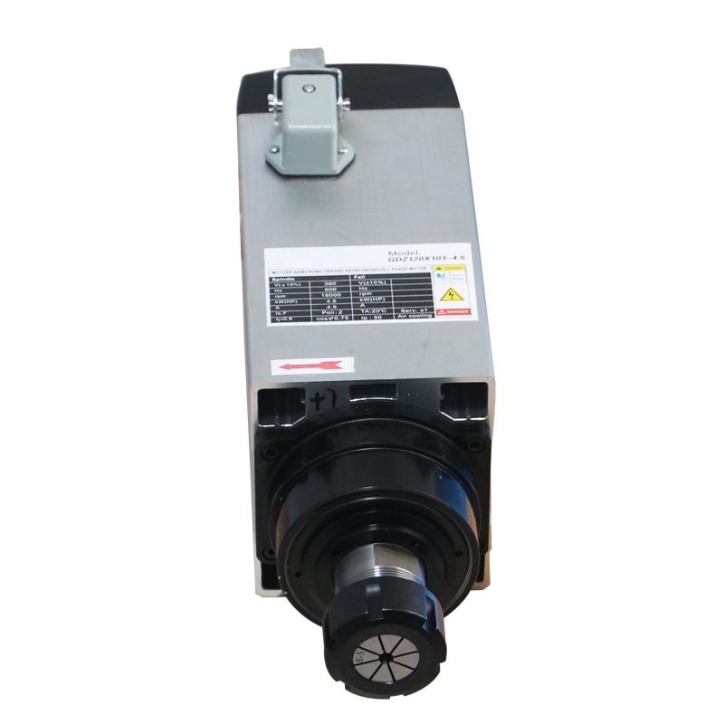 Venta caliente cuadrada 4.5KW motor de husillo refrigerado por aire 18000RPM ER32 380V para enrutador cnc para carpintería