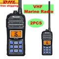2 UNIDS IP67 A Prueba de Agua Walkie Talkie de Radio VHF Marino RS-35M Pantalla LCD 5 W/1 W Flotador de Mano de Dos vías Ham Radio 70 Canales
