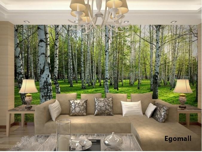 American birches wallpaper reflective waterproof 3d wall for Waterproof wallpaper for bedrooms