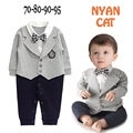 2015 New Baby Boys Clothes Bebes Autumn Winter Clothing New born Infant Gentleman fake 2pcs Suit Long Sleeve Rompers costumes