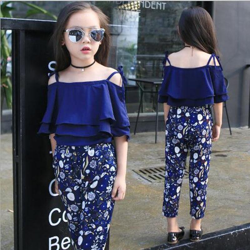 Dječja odjeća djevojke setovi ljeto Sling košulja + gležanj - - Dječja odjeća - Foto 2