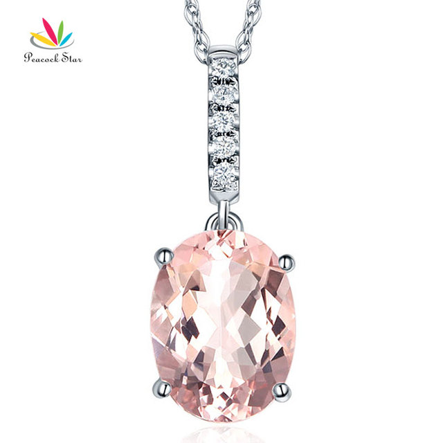 sale pear sterling collections dsc with gold pendant products shape silver necklace rose copy morganite